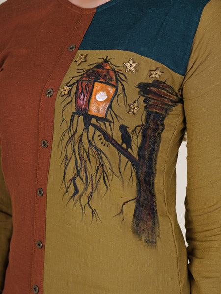Hand Painted Night Owl Scene With Wooden Brooch Work Cotton Kurti