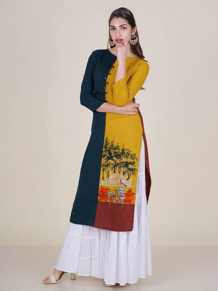 Hand Painted Forest Bunglow Scene With Coin Tikki Work Cotton Kurti