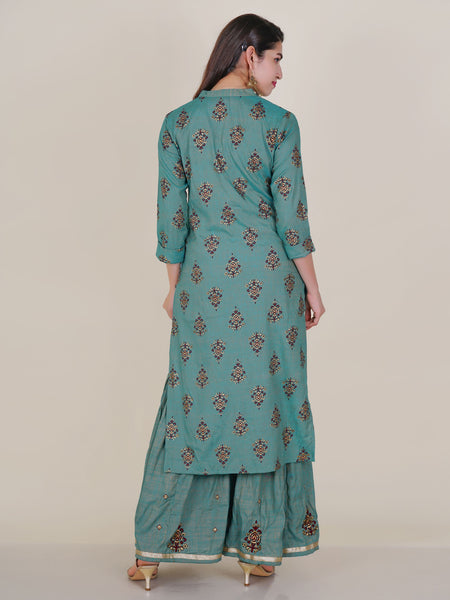 Foil Mirror, Zari & Resham Work Khadi Printed Kurti & Sharara Set - Blue