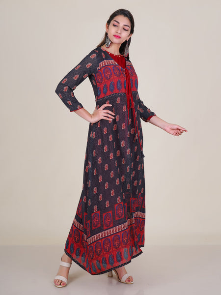Beaded Ethnic & Floral Printed Double Layered Kurti