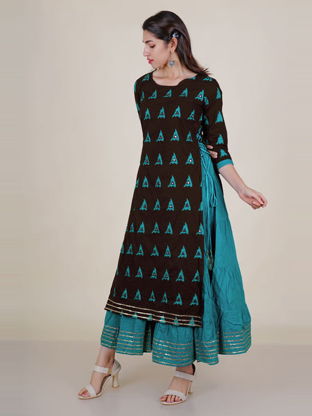 Foil Mirror, Resham & Gota Work Layered Printed Cotton Kurti - Blue & Brown