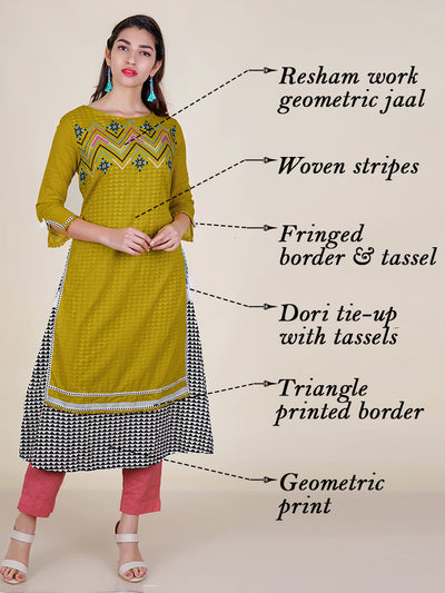 Embroidered Layered Geometric Printed Kurti
