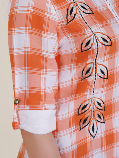 Chequered & Embroidered Kurti