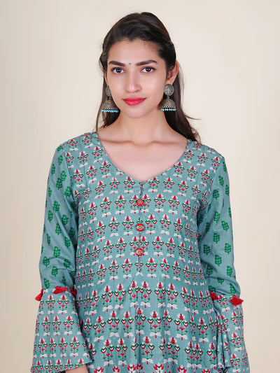 Kundan Work Stone Buttoned Tasseled Floral Cotton-Silk Kurti