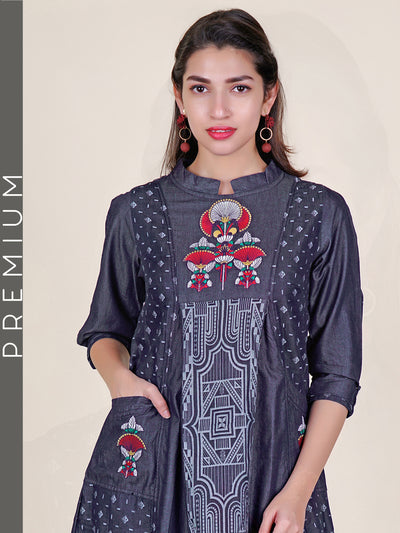 Resham Work Geometric Printed Denim Kurti