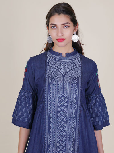 Abstract Printed & Embroidered Frill Sleeved Kurti