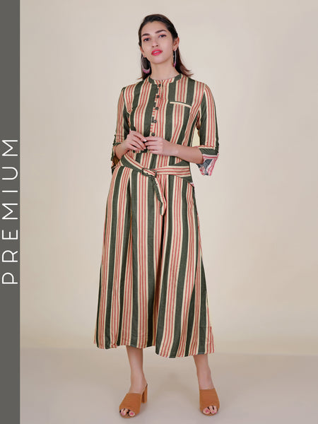 Metal Studded Buttoned & Stripes Belted Kurti