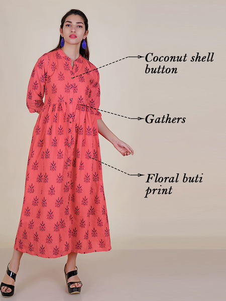Floral Printed Gathered Kurti