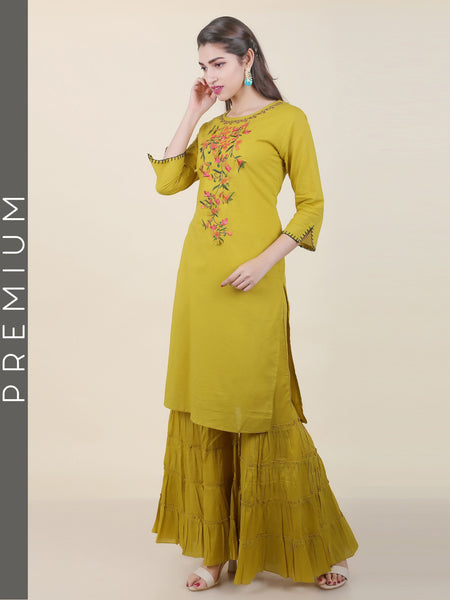 Floral Embroidered Kurti with Tiered Sharara Set - Lime Green