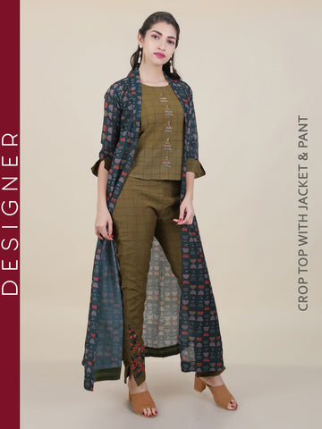 Ethnic Work Chequered Top, Pant & Abstract Printed Jacket Set