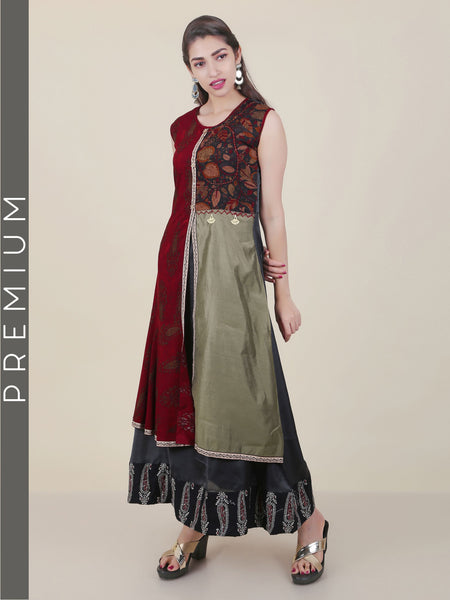 Colour & Print Blocked Layered Kurti