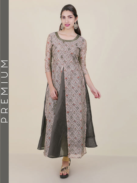 Mughal Floral Printed & Embroidered Kurti - Grey