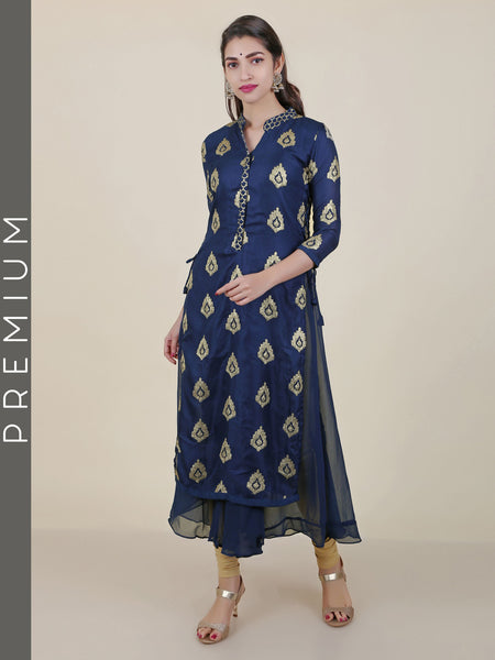 Ethnic Sequins Work Double Layered Georgette & Art Silk Kurti