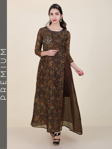 Vintage Floral Printed & Embroidered Kurti - Coffee Brown