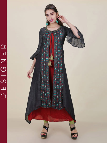 Frill Sleeved Ethnic Floral Printed Attached Jacket Kurti