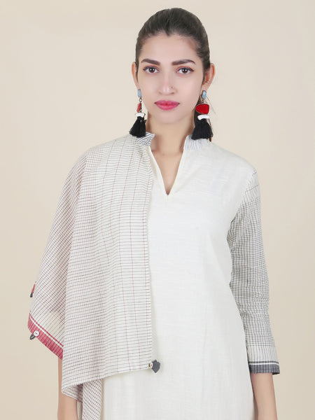 Chequered Draped One-Shoulder Cape Style Slub-Cotton Kurti