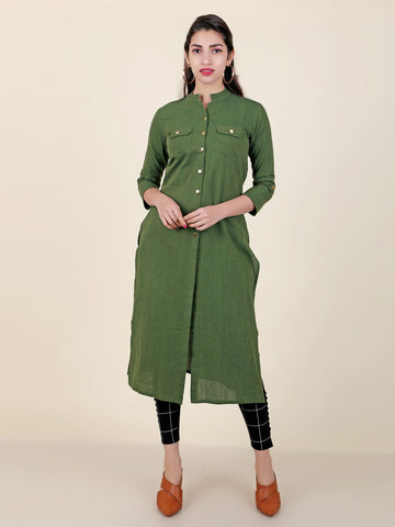 Golden Buttoned Cotton Kurti - Green