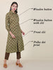 Polka Dots Printed Cotton Kurti - Light Oak