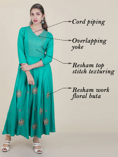 Resham Floral Work & Resham Top Stitched Flared Kurti - Light Blue