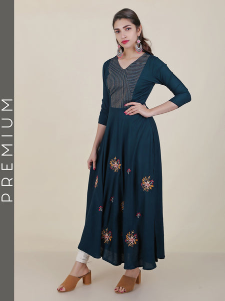 Resham Floral Work & Resham Top Stitched Flared Kurti - Dark Blue