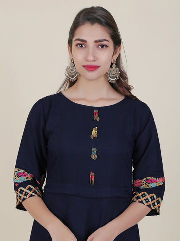 Resham Work Floral-Bird Buta Embellished Cotton Kurti