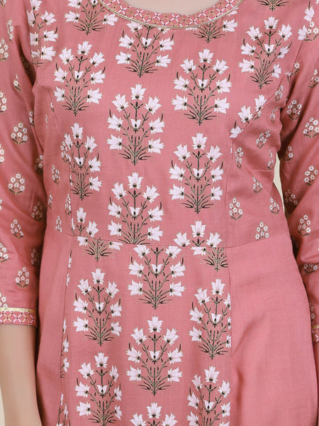 Gota, Resham & Beads Work Floral Print Cotton Kurti
