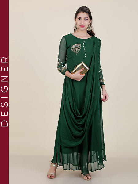 Stitched Draped Stole With Zardosi Work Georgette Kurti