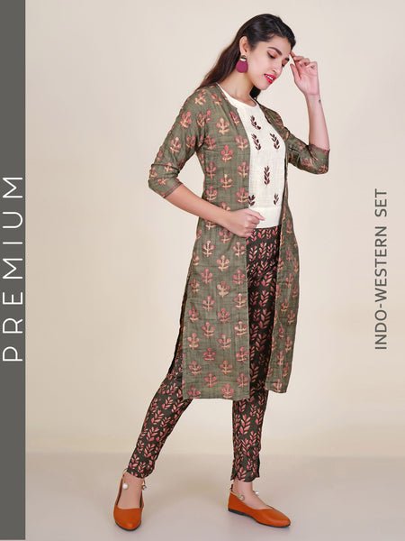 Resham & zari Work Crop Top, Leaf Baile Print Pants & Floral Print Jacket Set
