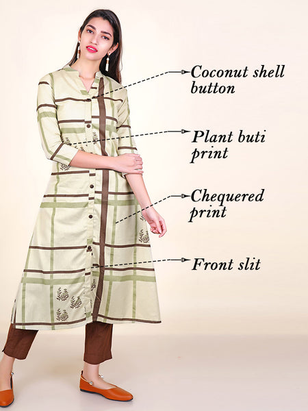 Coconut Shell Buttoned Chequered & Plant Buti Print Cotton Kurti