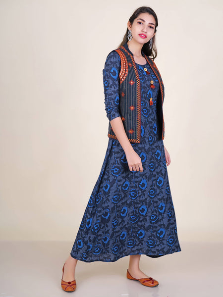 Foil Mirror & Resham Work Waistcoat With Abstract Print Kurti
