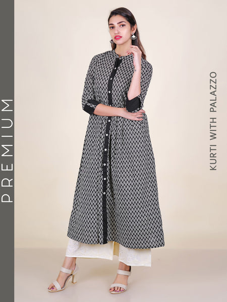 Paisley Print Gathered Cotton Kurti & Resham Hakoba Work Palazzo Set
