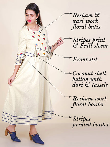 Resham & zari Work Tasselled Crop Top & Flared Cotton Kurti