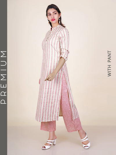 Striped Slub-Cotton Kurti & Gingham Checks Pants Set