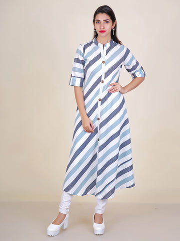 Metal Studded Wooden Buttoned Stripes Print Cotton Kurti