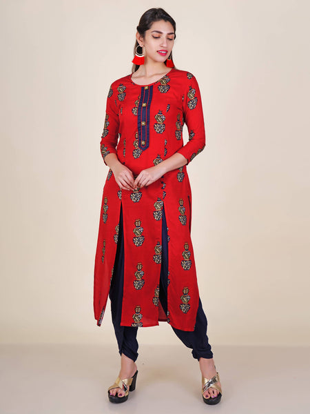 Crystal Studded Buttoned Foil Printed Kalash Motif Kurti