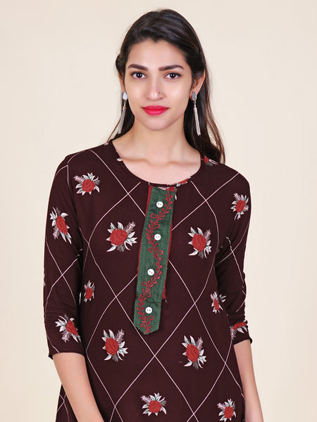 Resham Work Layered Placket Floral & Barfi Print Kurti