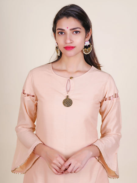 Floral Brooch Work Cutwork sleeves Layered Asymmetric Kurti & Brocade Dupatta