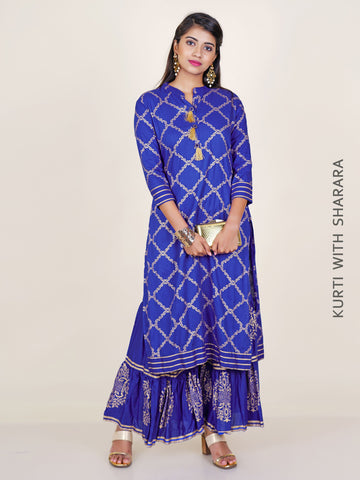 Tasselled Paisley Khadi Printed Cotton Kurti & Sharara Set