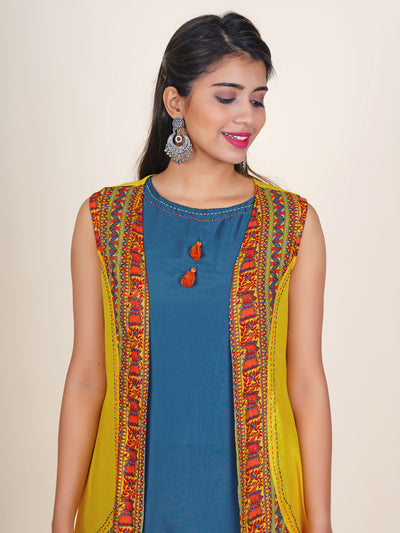 Resham  Beads Work peacock Jaal Print Jacket & Kurti