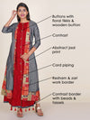 Resham, Floral Tikki & Zari Work Triple Layered Kurti