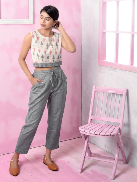 Dotted Arrow Printed Cotton Crop-Top, Jacket & Contrast Pants Set