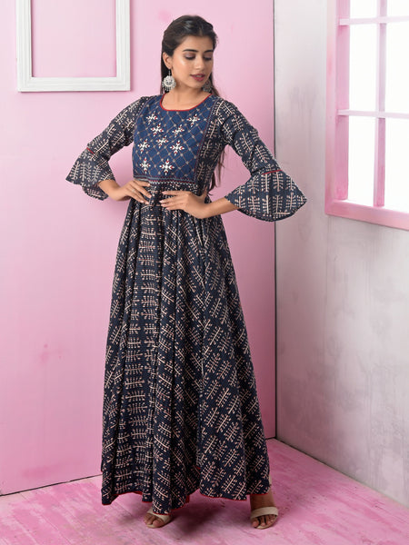 Resham & Foil Mirror Work Abstract Printed Kurti