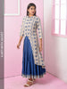 Abstract Print Asymmetric Jacket With Tiered Cotton Kurti
