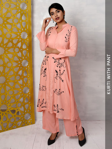 Resham Floral Work Asymmetric Cotton Kurti & Pant Set