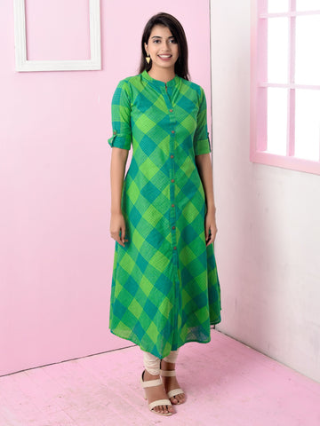 Diagonal Woven Checkered Mangalgiri Cotton Kurti - Green