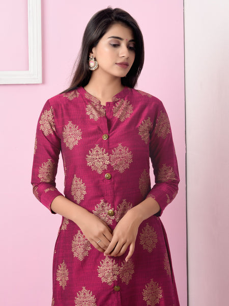 Golden Floral Printed Ethnic Buttoned Kurti