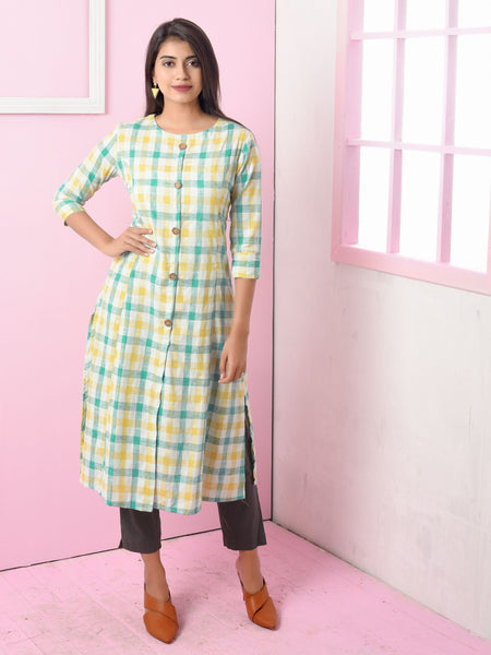 Engraved Wooden Buttoned Checkered Cotton Kurti