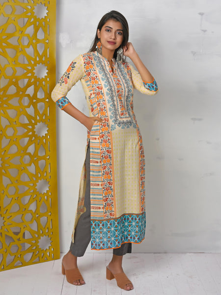 Sequined, Abstract, Floral & Geometric Printed Kurti