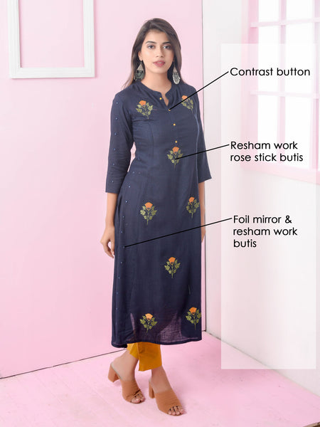 Resham & Foil Mirror Rose Stick Work Kurti