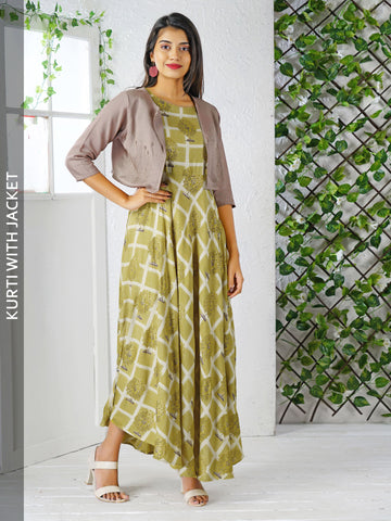 Golden Foil Tree Printed Cotton Kurti With Lapel Waistcoat